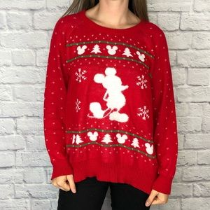 Disney Christmas Mickey Mouse Red Sweater